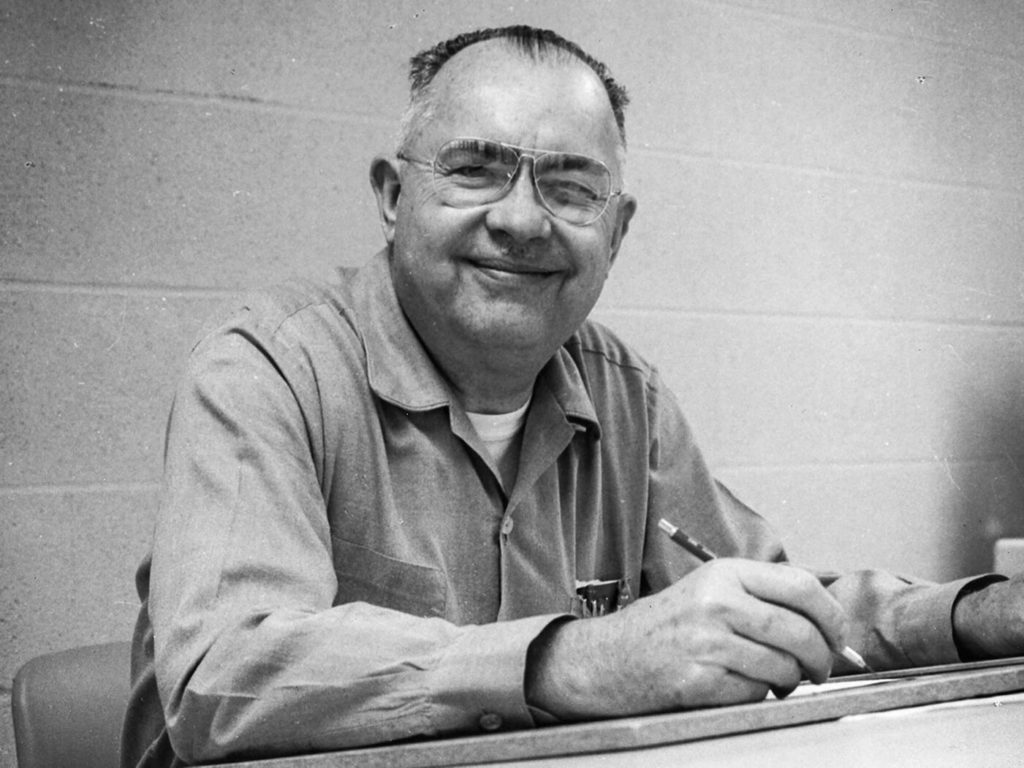 Leo Fender at his drawing board